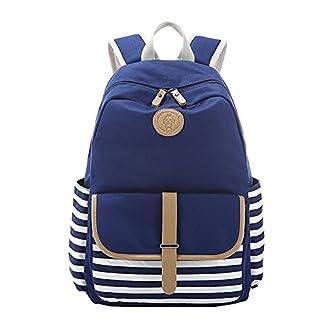 51V81QgzjgL. SS324  - Moollyfox Unisexo A rayas bolso de escuela Mochila Peso ligero Lona Linda Bolsa de viaje para los estudiantes muchachos de las niñas