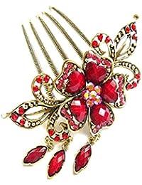 S&E Mujeres vintage flor cuelga el colgante Meta peine Cristal Rhinestone pinza de pelo broches