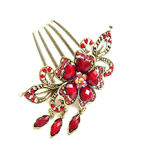 S&E® Frauen Vintage Blume baumeln hängende Tuck Kamm Kristall Strass Haarspange Haarspangen