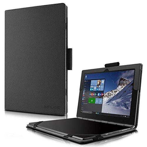 Lenovo Yoga Book Funda Case, Infiland Folio PU Cuero Cascara Delgada con Soporte para Lenovo Yoga Book 2016 10.1 inch Tablet, Negro