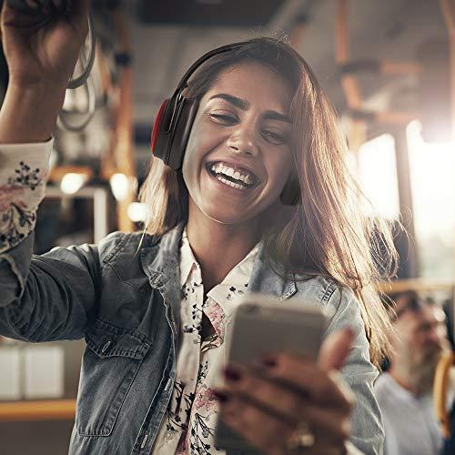 TaoTronics Noise Cancelling Kopfhörer Bluetooth Kopfhörer Over Ear mit aktiver Rauschunterdrückung 25 Std. Laufzeit, TT-BH22 eingebautes Mikro CVC 6.0, duale 40 mm Tieftontöner, Faltbare Ohrhörer rot - 3