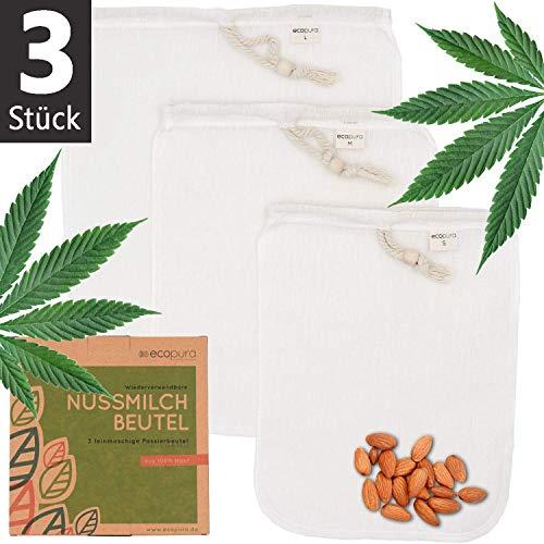 ecopura® Nussmilchbeutel aus Hanf - 3er Set (S, M, L) Nut Milk Bag - Passiertuch, Filtertuch für Nuss- und Getreidemilch, Saft, Smoothie, Kaffee, Gelee und Käse - Wiederverwendbar, BPA-frei und Vegan