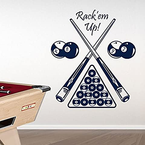 Billard de table Kids Billard Américain New transferts mur Stickers New Sticker mural Papier peint décor DIY Déco Amovible Stickers Muraux Stickers colorés A314, Vinyle, noir foncé, Large-Set