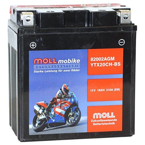 Moll mobike AGM Motorradbatterie YTX20CH-BS 18Ah 12V 210A - 82002