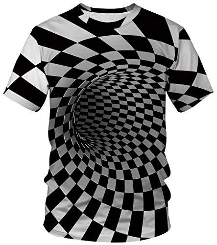 Ocean Plus Unisex Rundhals Sportswear T-Shirt Kostüm mit Aufdruck Fasching Größen S-3XL Tops mit Kurzarm (3XL (Referenzhöhe: 180-185 cm), Quadratischer - Zombie Kostüm Plus Größe