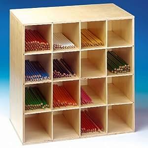 meuble en bois caisse de rangement pour crayons de couleur 42x42x42cm cuisine. Black Bedroom Furniture Sets. Home Design Ideas