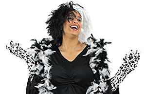 LADIES EVIL DOG LADY HALLOWEEN FANCY DRESS COSTUME SET IDEAL FOR CRUELLA DE VIL BLACK WHITE WIG + DALMATION GLOVES + BLACK WHITE FEATHER BOA