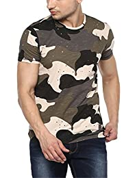Spykar Mens Olive Slim Fit Tshirts