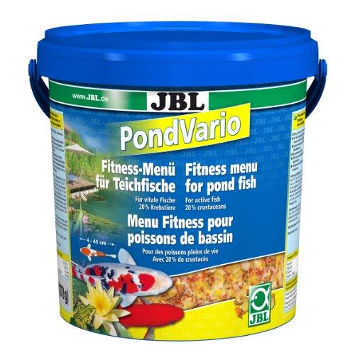 JBL Krebstiere PondVario 40298 Hauptfutter Mix für alle Teichfische, Futterflocken, Sticks, 1er Pack (1 x 10,5 l)