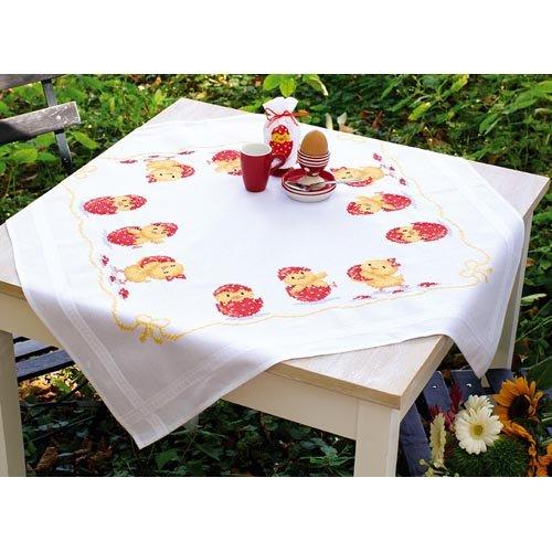 Vervaco Frohe Ostern Stickpackung/Tischdecke im vorgedruckten/vorgezeichneten Kreuzstich, Baumwolle, Mehrfarbig, 80 x 80 x 0.3 cm
