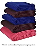 Goyal's Fleece Single Bed Blanket, 55x88-inch, Blue, Red, Coffee - Set of 5