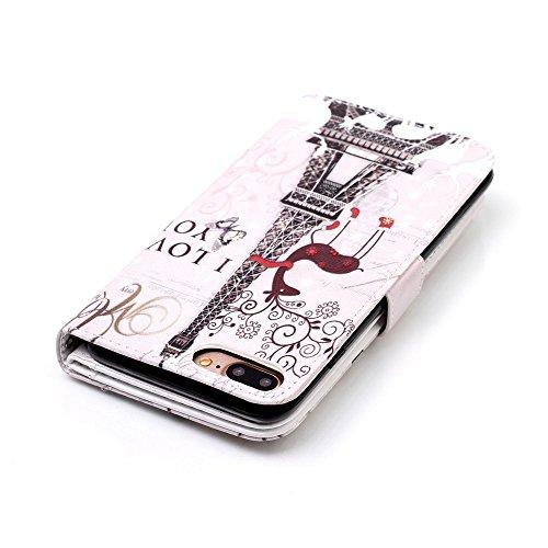 iPhone 7 Plus Ledertasche,iPhone 7 Plus 2016 Hülle,JAWSEU Niedlich Vogel Feder Muster Design Folio PU Leder Abdeckung Brieftasche Schutzhülle/Cover/Handyhülle/Etui/Tasche/Case/Hülle im Bookstyle mit [ Giraffe Turm