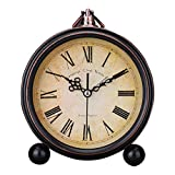 Surenhap - Reloj Despertador analógico Vintage silencioso Antiguo de Escritorio Reloj de Mesa para casa, decoración de Noche