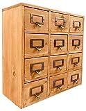 Geko 35 x 15 x 34-Cm-Minischmuck-Schreibtisch-Organisator-Schmuck-Lagerungsschubladen, 12 Holzschublade Minibrust mit Me