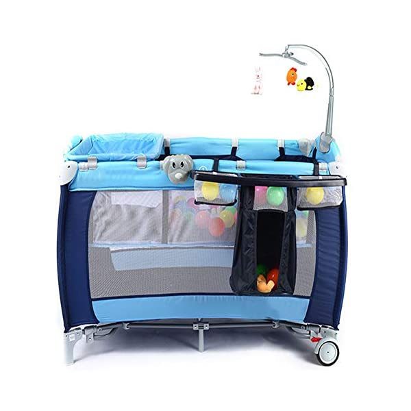 Mr.LQ Crib Portable Folding Baby Bed With Mosquito Net Multi-Functional Children'S Bed,Black,120x76x60cm  [Folded Baby Cot]Due to its folding design, you can take it to anywhere as you like by packing it in the supplied carry bag, and it just takes you a while to fold or unfold it before using. [See-through safety mesh]It features mesh cloth on both sides, this netted areas allow your baby to see out clearly as well as an onlooker to see in to her/him, and it also offers great ventilation for your baby. [Easy to Move] It designed in two wheels and two legs, you can move it around easily without any problems with the help of two wheels, and there is no issue to worry the stability due to the two sturdy legs. 6