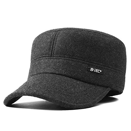 VEC Winter Dad Hats Herren Outdoor Cap mit Ohrenschützer Ohrenklappe Fleece Flache Kappe, Herren, Darkgrey-no Earmuffs, Free Size - Fleece-flap Hat