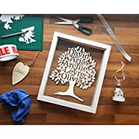 Personalised Family Tree Framed Papercut - New Bushy Design Various Colours Custom Gift Family Picture Frame Print Cut