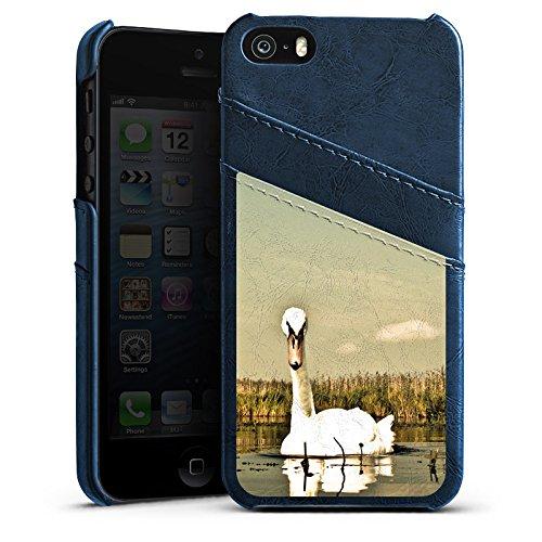 Apple iPhone 5s Housse Étui Protection Coque Cygne Oiseau Oie Étui en cuir bleu marine