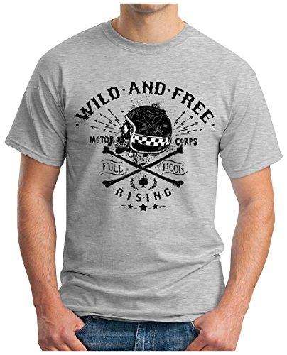 OM3 - WILD-AND-FREE - T-Shirt MOTOR CORPS FULL MOON RISING MC CLUB SKULL GEEK EMO, S - 5XL Grau Meliert