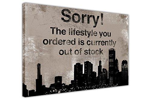 """CANVAS IT UP Leinwanddruck, Motiv: Banksy-Zitat Sorry"""", canvas holz, schwarz, 04-30"""