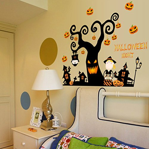uk Haus Kürbis Lichter Baum Fenster Dekoration Wandaufkleber (Günstige Halloween-dekoration Für Zu Hause)