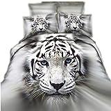 CHAOSE Weißer Tiger, Cooler Werwolf Bettwäsche Set,Superweiche Polyester-Baumwolle,3-teilig (1 Bettbezug + 2 Kissenbezüge 48x74cm) (weißer Tiger, King Size(220x240CM 2M Breites Bett))