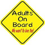 5inx 5in Adults On Board We Want To Live Too Bumper Sticker Decal Vinyl Window Stickers Decals by StickerTalk®