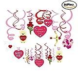 Bdecoll 30 Stück Hängedekoration/Deckenhänger Spiral Girlanden mit Herzen für Valentinstag Hochzeit Verlobungsring Dekorationen