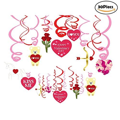 (Bdecoll 30 Stück Hängedekoration/Deckenhänger Spiral Girlanden mit Herzen für Valentinstag Hochzeit Verlobungsring Dekorationen)