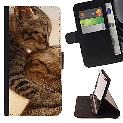 STPlus Chat embrassant Animal Coque Portefeuille Housse de Protection Étui pour Samsung Galaxy Grand Prime