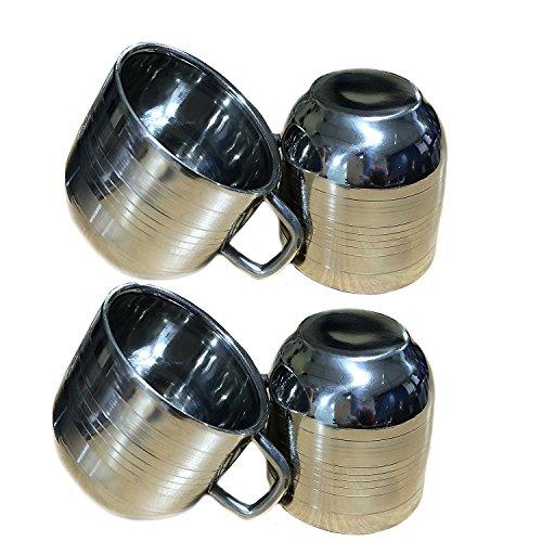 Einweg-arbeitsplatte (Valentinstag Geschenke, Satz von 4 Edelstahl Tee & Kaffeetassen, Trinkbecher für Kinder, Silber Farbe Größe 2,9 X 2,9 Zoll)