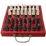 Backbayia Faltbare Tragbare Holz Schach Brett mit Harz Chinesisches Schachfiguren für Reise Spaß Spielzeug