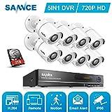 SANNCE 8CH 720P HD Video Überwachungskamera System mit 2TB Festplatte 1080N HDMI ONVIF DVR Recorder mit 8 Outdoor 720P CCTV Haus Sicherheit Kamera Set, 20M Nachtsicht, P2P Schnellzugriff