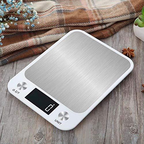 JTY Digitale Küche Lebensmittel Scale Multifunktion Tare Funktion Küche Gewichtsgewicht Waagen für das Kochen und Backen Edelstahl,White - Skala-timer