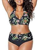 Bikini Grandi Sexy Donna Costumi da Bagno Plus Size Spiaggia Boemo Fionda Scoll a V Due Pezzi Swimwear Estate-Très Chic Mailanda (XL, Nero)