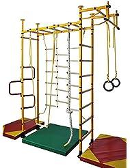 Klettergerüst Kinderturngerät Sprossenwand Turnwand Kletterwand Heimsportgerät FitTop M3 inkl. Klimmzugstange Kletternetz Turnringe Tau Trapez