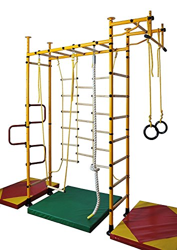 NiroSport FitTop M3 Indoor Klettergerüst für Kinder Sprossenwand für Kinderzimmer Turnwand Kletterwand, TÜV geprüft, kinderleichte Montage, Made in Germany (Gelb, Raumhöhe 200-250 cm)