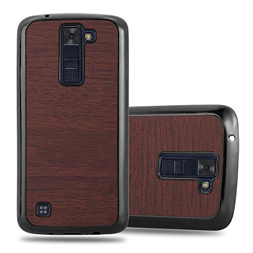 Cadorabo – Hard Cover Slim Case für >          LG K8 (Modell 2016)          < in Holz-Optik und Vintage Design - Case Cover Schutz-hülle Hard Case in WOODY-BRAUN WOODY-KAFFEE