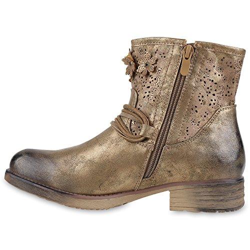Biker Boots Damen Metallic Stiefeletten Blumen Vintage Look Gold