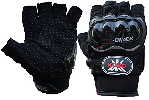 Probiker Leather Motorcycle Riding Half Finger Gloves (Black, XL)