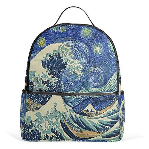 Drawn wave van gogh zaino casual student zaino durevole unisex scuola bookbag daypack back bag shoulder bag per scuola viaggi