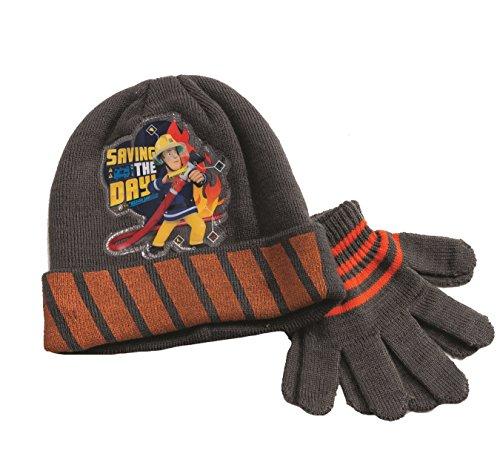 Preisvergleich Produktbild Offiziell lizensiere ORIGINAL Fireman Sam Feuerwehrmann Sam Schwarz Beanie Mütze und handschue - Lizensierter Fireman Sam Fanartikel