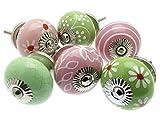 Mangotree Gemischt 6er Set x Apple Grün & Blassrosa Küchenschrank Knauf in Vintage & Shabby Chic Stil Keramik (MG-603) - 'Vintage Chic' TM Produkt