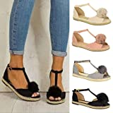 Womens Flat Sandals OverDose Ladies Flat Lace Up Espadrilles Summer Chunky Holiday Sandals