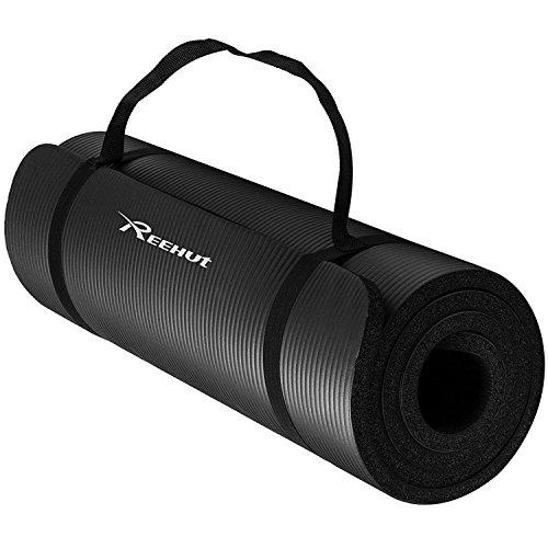Reehut 1/2-inch extra densit¨¤ NBR esercizio yoga mat per pilates, fitness e allenamento con cinghia di trasporto (Nero)