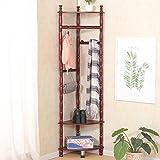 Dragonmys UK- Mobile europäischen Wohnzimmer Kleiderständer, eine Kombination aus Massivholz Garderobe, Schlafzimmer Stock Kleiderbügel (Farbe : Mahagoni)