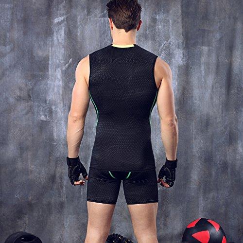 Bwiv maglia compressione uomo senza maniche con stampa di squame canotta traspirante Nero con linea verde