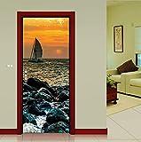 Haipeiy Türaufkleber DIY 3D Senery Holz Stahltür Aufkleber 3D Aufkleber Wandbild Dekoration Sea Wharf mit Sonnenaufgang Wandaufkleber Poster 77x200 cm