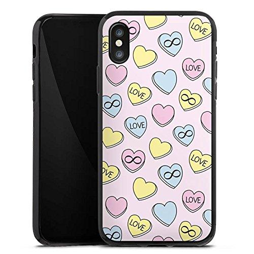 Apple iPhone X Silikon Hülle Case Schutzhülle Love Herzen Bunt Silikon Case schwarz