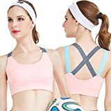 Dilency Sales Padded Color-Full Racer-Back Cross Bra(Workout, Aerobic, Gym, Yoga, Dancing, Sports) Cotton Bra, for Womens/Girls Free Size (32 to 36) (Removable Pad)(Peach)